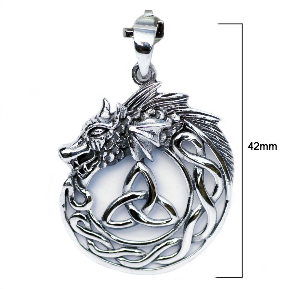Celtic Dragon with Triquetra Trinity Knot Silver Pendant P044